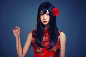 Фотографии Азиатка Волос Взгляд Макияж Брюнеток Девушки