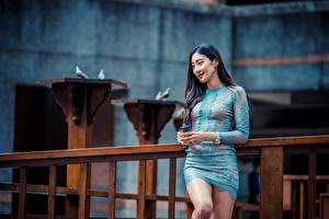 Фотографии Азиатка Позирует Платье Улыбка молодые женщины