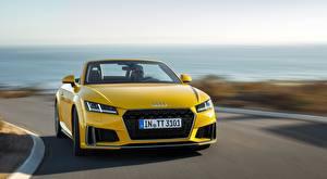 Фотографии Audi Боке Спереди Едущая Желтая Родстер TT, Roadster, S line, 2018 машины