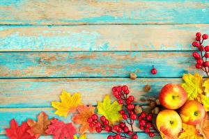 Картинка Осенние Яблоки Доски Шаблон поздравительной открытки Пища