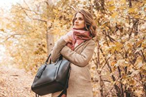 Фото Осенние Сумка Шатенка Пальто девушка