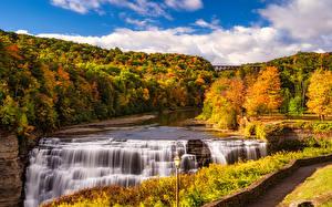 Картинки Осень Америка Парки Водопады Леса Пейзаж Уличные фонари Letchworth State Park