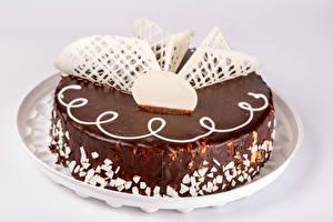 Фотографии Торты Шоколад Серый фон Дизайн