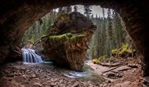 Картинки Канада Леса Водопады Скале Арки Мхом Alberta Природа