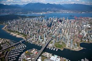 Фотография Канада Здания Сверху Ванкувер Города