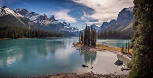 Фотография Канада Горы Озеро Пейзаж Lake Maligne, ALberta
