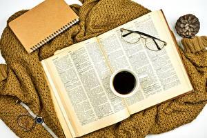 Фотография Кофе Часы Книги Блокнот Очков Чашке Еда