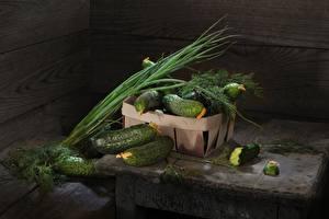 Обои Огурцы Укроп Зелёный лук Овощи