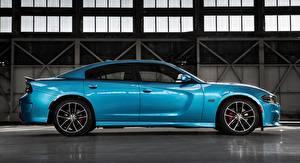 Картинка Dodge Сбоку Металлик Голубые Charger, R/T Scat Pack, 2015 авто