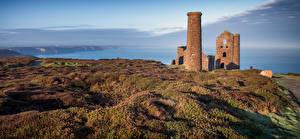 Фотография Англия Берег Развалины Пейзаж Башня Cornwall Природа