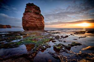 Фотографии Англия Берег Рассвет и закат Утес Devon Природа