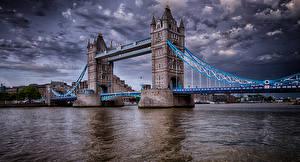 Картинка Англия Реки Мосты Лондон Башни HDR город