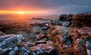 Фото Англия Камни Рассвет и закат Пейзаж Dartmoor Природа
