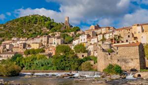 Фотография Франция Дома Берег Холмы Roquebrun Города