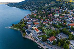 Фотография Германия Побережье Дома Дороги Бавария Сверху Berge Города