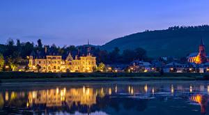 Фотографии Германия Вечер Река Дома Замки Кохем Города