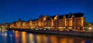 Обои Германия Гамбург Вечер Дома Речка Улиц город