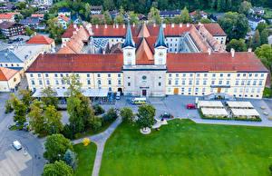 Обои для рабочего стола Германия Монастырь Здания Бавария Газоне Tegernsee Abbey город