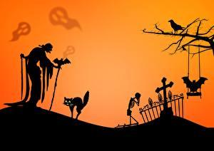Картинки Хэллоуин Коты Летучие мыши Кладбище Пожилая женщина