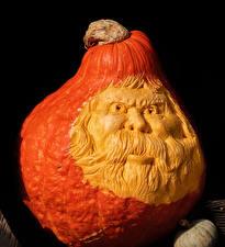 Фото Хеллоуин Тыква На черном фоне Дизайн Пожилой мужчина