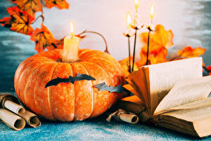 Картинка Хеллоуин Тыква Свечи Птица Книги