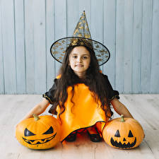 Картинка Хеллоуин Тыква Девочки Шляпы Взгляд ребёнок