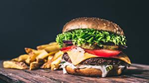 Обои Гамбургер Быстрое питание Булочки Вблизи Продукты питания