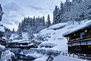 Картинка Дома Япония Снега Yamagata, Ginzan Onsen город Природа