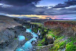 Фото Исландия Пейзаж Облачно Каньона Sigöldugljufur Природа