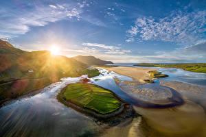 Картинка Ирландия Побережье Гора Небо Солнца Donegal
