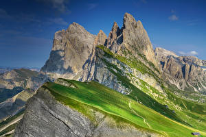 Фото Италия Горы Альп Скалы Seceda, South Tyrol