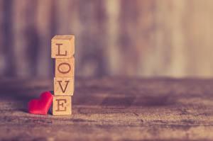 Фото Любовь Размытый фон Куб Сердце Слово - Надпись Английский Love