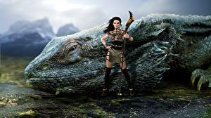 Фотографии Волшебные животные Воины Игуаны Фантастика Девушки 3D_Графика