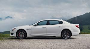 Обои Maserati Седан Белая Сбоку Quattroporte GTS, GranSport, US-spec, 2018, Luxury Автомобили