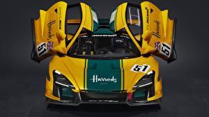 Фотографии Макларен Купе Открытая дверь Желтая Senna GTR LM, 2020 Автомобили