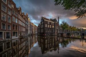Фотография Нидерланды Амстердам Дома Мост Водный канал