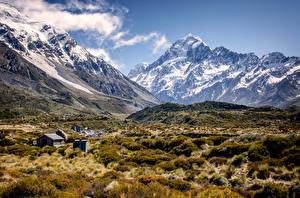 Картинки Новая Зеландия Горы Пейзаж Долина Mount Cook Природа