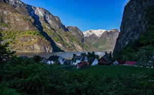 Картинки Норвегия Здания Горы Скалы Sogn og Fjordane Природа