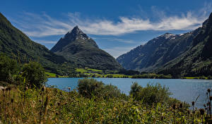 Обои Норвегия Гора Озеро Пейзаж Byrkjelo Природа