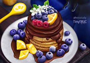 Обои Блины Шоколад Черника Ягоды tiny-truc Еда