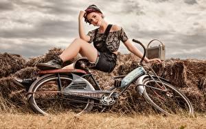 Фотографии Ретро Радиоприёмник Сено Велосипед Сидит девушка