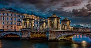 Картинки Россия Санкт-Петербург Вечер Здания Река Мосты Lomonossov bridge Города