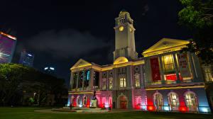 Картинка Сингапур Дома Часы Ночь Raffles Place город