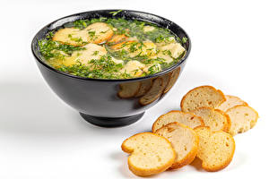 Обои Супы Хлеб Укроп Белом фоне Тарелке Пища