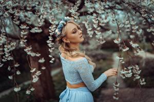 Обои Весна Ветка Размытый фон Блондинок Венком Девушки
