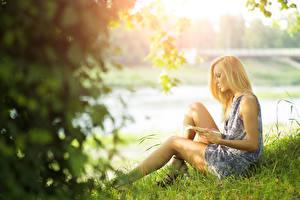 Картинки Лето Размытый фон Блондинка Трава Книга Платья Сидит Молодая женщина Девушки