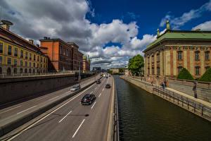 Фотография Швеция Стокгольм Здания Улиц Набережная Облако город