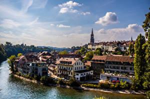Обои Швейцария Берн Дома Река Облачно