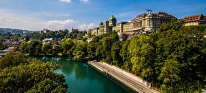 Картинка Швейцария Берн Дома Река Дерево