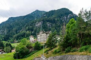 Обои Швейцария Замок Леса Альпы Утес Gurtnellen, Uri город